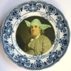 Yodamin Franklin Portrait Plate - Altered Antique Plate