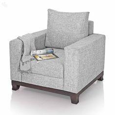 Sofa Upholstered Single Seater Light Grey - Maison