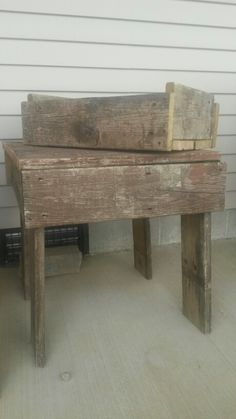 Recycled deck boards into table