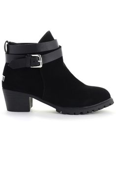 108cc6ed75a0d7 Strapped Faux Suede Ankle Boots in Black - Retro