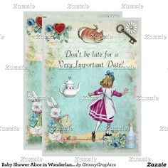 Baby Shower Alice in Wonderland Don't Be Late Card