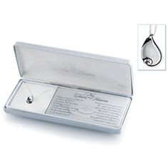 "No Tears in Heaven Memorial Necklace -  Keep your loved one close to your heart with this teardrop shaped pendant.  The ""No Tears in Heaven"" poem is included within the gift box."