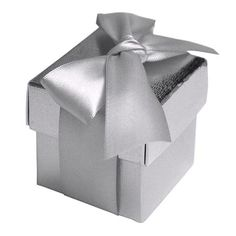 100 Boxes Silver 2 pcs Favor Boxes Bridal Shower Party Favor Gift Container