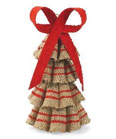 Look at this #zulilyfind! Burlap Ruffle Tree Ornament #zulilyfinds