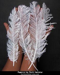 Papercut - Feather - Papercutting - Paper art by ParthKothekar.deviantart.com on @DeviantArt