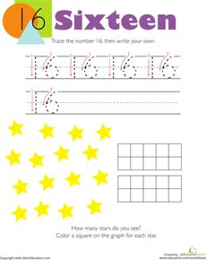 On this kindergarten math worksheet, kids trace the number then write their own. Then they count the stars they see in the picture and make a graph. Numbers Kindergarten, Free Kindergarten Worksheets, Numbers Preschool, Free Printable Worksheets, Free Preschool, Number Worksheets, Preschool Ideas, Free Printables, Basic Sight Words