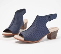 bdbfc1a52e1 Clarks Nubuck Leather Perforated Heeled Sandals- Valarie James. QVC