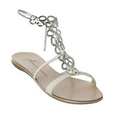 flat white coach wedding sandals  | Silver Sandals Flat