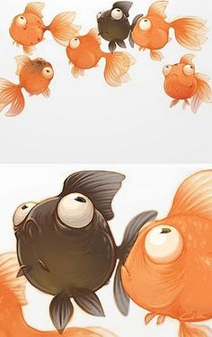 Chhuy-Ing IA goldfish Amazing Drawings, Cute Drawings, Animal Drawings, Cute Illustration, Character Illustration, Art Mignon, Cartoon Fish, Fish Art, Creature Design
