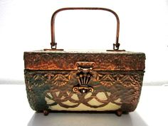 VINTAGE Rare Walborg Copper METAL Clad LUCITE Box PURSE 1950's-60's #Walborg #Box