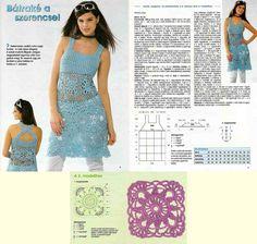 Horgolásról csak magyarul.: HORGOLT DIVAT MAGYARUL Crochet Woman, Vogue, Summer Dresses, Clothes, Crocheting, Women, Fashion, Outfits, Crochet