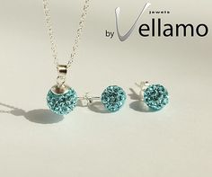 Light blue crystal ball necklace and earrings by byVellamo on Etsy, $35.00