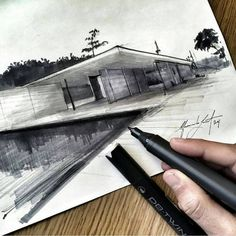 This drawing demonstrates how the use of grey and black tones of marker can create a life like representation of a building. The different thicknesses of marker is also effective.