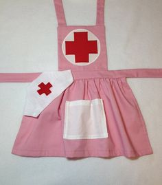 Pink child's nurse apron with hat. Dress up nurse by MollysCellar