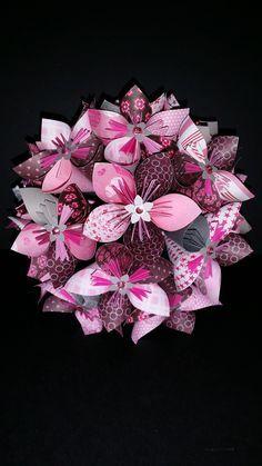Exemple - Bouquet de 15 fleurs origami en papier Rose et Gris : Accessoires de maison par mes-creations-65