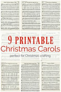 Christmas music ornaments and free printable Christmas carols - Lovely Etc. - 9 printable Christmas carols for making christmas music ornaments and other Christmas crafts Informa - Christmas Carols Songs, Christmas Sheet Music, Christmas Signs, Vintage Christmas, Christmas Holidays, Music Christmas Ornaments, Christmas Nativity, Rustic Christmas, Musical Christmas Decorations