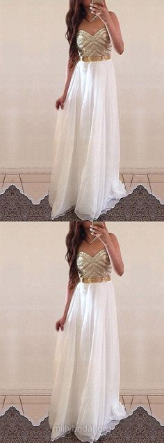 White Prom Dresses Long, 2018 Prom Dresses For Teens A-line, Sweetheart Formal Party Dresses Chiffon, Modest Evening Pageant Dresses Sexy Sashes / Ribbons