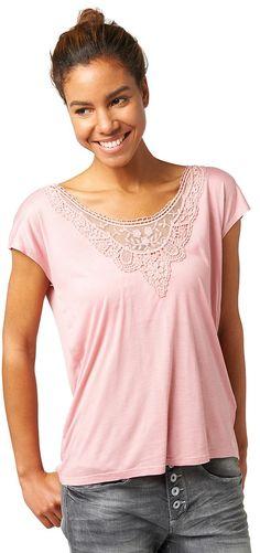 T-Shirt mit Spitzen-Details für Frauen (unifarben, kurzärmlig mit Rundhals-Ausschnitt) aus Single-Jersey, mit Spitzeneinsatz am Ausschnitt, weiter Ausschnitt am Rücken. Material: 100 % Viskose...