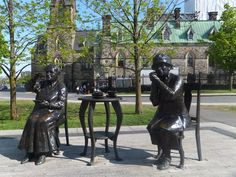 Take a walk on Parliament Hill and see some of the famous statues and monuments - This is The Famous Five monument The Famous Five, 50 Years Old, Ottawa, Statues, Cool Kids, Garden Sculpture, Sculptures, Batman, Canada