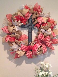 Red Chevron, White Polka Dot, and Natural Burlap Wreath with Cross - Faith, Jesus, Spring, Easter www.etsy.com/shop/simplyblessedgift