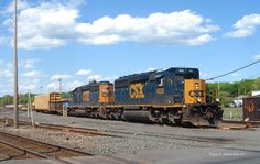 CSX SD40-3 # 4028 along with SD40-2 8862 doing switching in the yard.