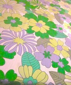 Very Pretty Green And Purple Flowers 1970s by Pommedejour on Etsy, $25.00
