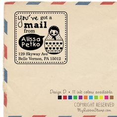 Russian Doll Stamp. Personalized Library Stamp by myrubberstamp