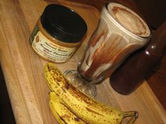 Natural protein shake - banana, homemade chocolate syrup, almond butter. Yum!