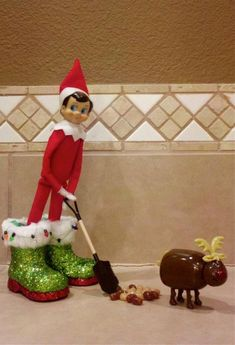 elf on the shelf : shoveling reindeer poop I saw this at Kroger now I have a reason to buy it! now what to do for a shovel?