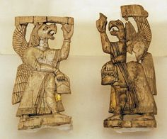 Urartian ivory statuettes, Museum of Anatolian Civilizations 1200-700 BCE  griffins carry blessing pineal cones buckets