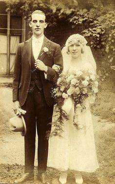 Bride and groom in about 1918 by lovedaylemon, via Flickr