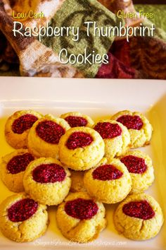 With a subtly sweet shortbread base and a dot of raspberry jam on top, these low carb and gluten free raspberry thumbprint cookies are sure to be a hit.