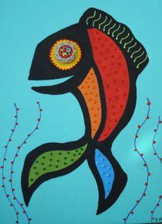Fun fish painting with micro mosaic eyes