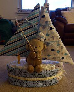 Diaper cake for @terri_fertitta #mylife #diapercake #sailboat #ahoymatey…