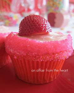 Strawberry Daiquiri Cupcakes ~ quick and easy recipe. only 1 Strawberry Cake Mix and 1 pouch of Parrot Bay pre-mixed Strawberry Daiquiri Drink. plus a Buttercream Frosting Recipe--That would be great for adult girls night at your house snack. Yummy Cupcakes, Love Cupcakes, Cupcake Cookies, Mocha Cupcakes, Gourmet Cupcakes, Easter Cupcakes, Velvet Cupcakes, Christmas Cupcakes, Vanilla Cupcakes