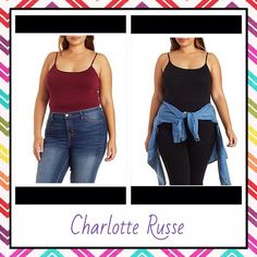 """Charlotte Russe Plus Size Cami Bundle Both NWT, first cami is maroon and second is black. Both are the same style and brand. Purchased on charlotterusse.com! Tagged as a 3X but runs a size small, so best for a 2X! Brand is called """"Ambience Apparel."""" (a brand they sell) Price is firm! Charlotte Russe Tops Camisoles"""