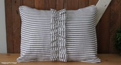 """Blue and white ticking pillow cover with centre ruffle 12""""x16"""". $25.00, via Etsy."""
