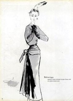 Balenciaga design illustrated by Eric (Carl Erickson), 1947