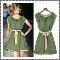 It is MKFS chiffon lotus leaf short sleeve mini pleated dress with belt. Chiffon, Mini Length give this dress elegant flair. Wear this dress for a fashion, casual look. Green Summer Dresses, Summer Dresses For Women, Dress Summer, Cheap Dresses, Elegant Dresses, Belted Dress, Dress Skirt, Waist Skirt, Green Chiffon Dress