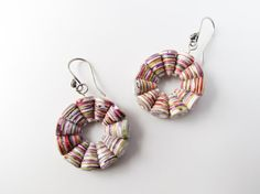 Paper jewelry  Multicolored paper bead wheel earrings  by Paperica, $28.00