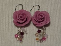 Polymer clay rose and Swarovski crystal earrings.  Made by me.