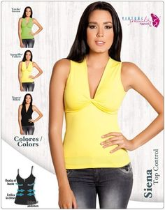 New slimming shirt available in green, yellow and black.
