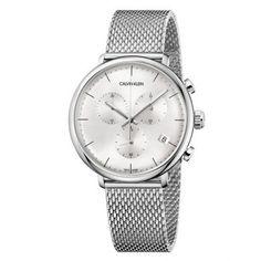 Ανδρικό quartz ρολόι Calvin Klein K8M27126 High Noon με ασημί καντράν, ημερομηνία, χρονογράφο και ατσάλινο μπρασελέ ψάθα | Ρολόγια CK ΤΣΑΛΔΑΡΗΣ στο Χαλάνδρι #Calvin #Klein #High #Noon #μπρασελέ