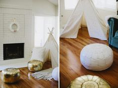 """Love the teepee and poufs at this cozy, winter """"glamping"""" theme baby shower"""