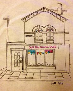 Jade Marczyski creates embroidered images if Saltaire buildings - showing in the Open Houses, 28th to 30th May 2016