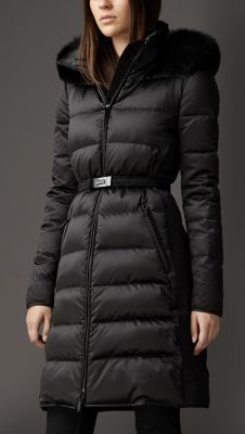 burberry puffy coat with fur  *OR something similar*  In Black.  Size M/8