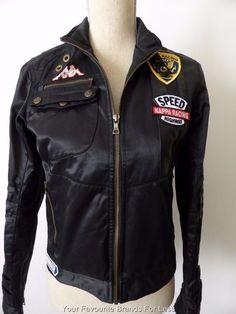 Kappa Ladies Size 8 US 4 or Youth Size Large Black Racing Jacket