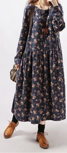 New women loose fit plus over size flower ethnic long dress maxi tunic robe New Arrival Women Long Sleeve Loose Dress Plus Size Trendy Dresses, Simple Dresses, Nice Dresses, Casual Dresses, Fashion Dresses, Hijab Casual, Hijab Chic, Fashion Clothes, Fashion Sewing