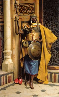 The Palace Guard by Ludwig Deutsch (1855-1935). Ludwig was an Austrian painter who settled in Paris, where he became strongly associated with Orientalism. (Wikipedia)