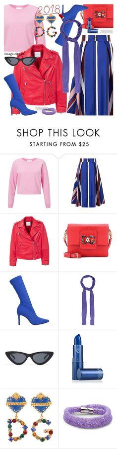 """Red jacket"" by lyusilgrig ❤ liked on Polyvore featuring Miss Selfridge, MANGO, Dolce&Gabbana, Marc Ellis, Bottega Veneta, Le Specs, Lipstick Queen and Swarovski"